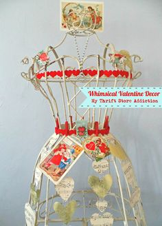 If you still love playing dress-up like I do, check out my Queen of Hearts dress form styled with whimsical vintage Valentines! Valentine Messages, Valentine Banner, Vintage Valentine Cards, Valentine Tree, Valentines Day Decorations, Valentine Day Crafts, Love Valentines, Vintage Vignettes, Vintage Decor