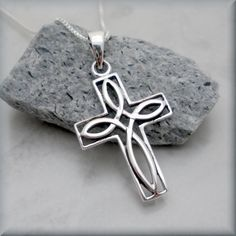 Received Christmas 2013 Celtic Cross Necklace Sterling Silver Pendant Irish Jewelry (SN689) by BonnyJewelry