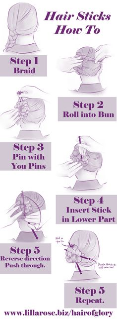 Hair Stick Tutorial: 1) Make a braid. 2) With one hand hold the braid while…
