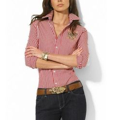 Ralph Lauren Striped Super-Slim-Fit Shirt In Red