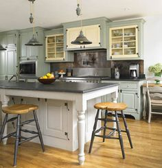 This gave me a great idea for my kitchen.  I wanted to make the island a different color than the cabinets and now that I can see that - it looks cool.