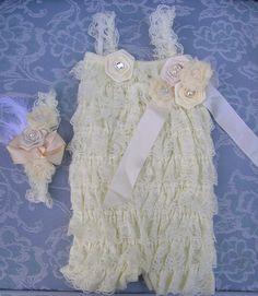 Cream color baby lace romper withcream headband by PlumCuties, $42.95