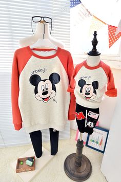 QZZ292 Winter 1 6Y kids cute mickey family matching clothes father mother and son daughter thick warm fleece family look outfits