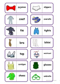 to practice vocabulary (clothes); I think, the pupils and also teachers will enjoy this domino (clothes); English Games, English Activities, English Tips, English Class, English Lessons, English Language Learning, Teaching English, English Clothes, English Exercises