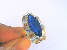 Sterling Silver Vibrant Blue Ring Vintage Taxco Mexico Found in Old Jewel Safe