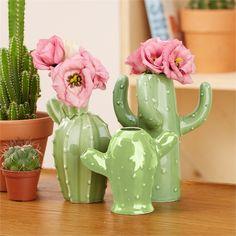 Set of 3 Cactus Bud Vases Includes 3 Designs - Ceramic Two's Company, Cactus Decor, Bud Vases, Home Accents, Pottery, Concept, Ceramics, Inspiration, Design