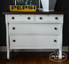 My Passion For Decor: From Beat Up to Beautiful: Empire Dresser Makeover. Chalk Paint™ by Annie Sloan, Pure and Old White mix, with dark walnut stained top and wood knobs.  #vintage #farmhouse #empire #dresser #furniture #paintedfurniture #anniesloanunfolded #unfolded #anniesloan #chalkpaint #whitefurniture #white #gray #kendallcharcoal #windows #pepsi