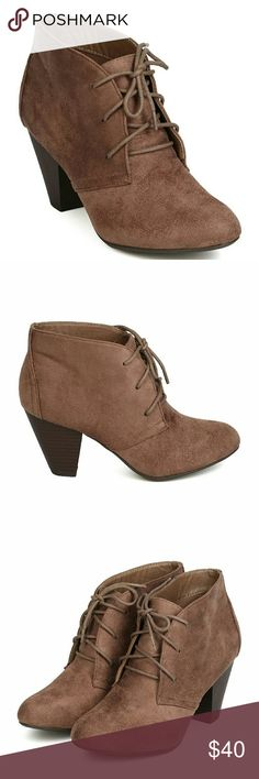 """Brown Lace Up Oxford Booties Brand new in box by City Classified. Size 7.5. Heel is 3 3/4"""". The color is called Deep Taupe which is a Medium Brown color. Functional laces up the front. City Classified Shoes Ankle Boots & Booties"""