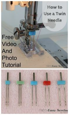 VIDEO - sewing tutorial for how to use a twin needle. How to sew with a double needle, video and photo step by step tutorial. Learn to sew with a twin needle by video tutorial. A twin needle or double Sewing Machine Projects, Easy Sewing Projects, Sewing Projects For Beginners, Sewing Hacks, Sewing Tutorials, Dress Tutorials, Sewing Machines Best, Sewing Machine Thread, Sewing Notions