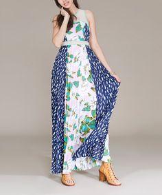 Jealous Tomato Teal & Blue Floral Maxi Dress   zulily