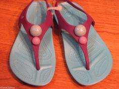 Girl's relaxed fit Aliana crocs RARE juniors lilac aqua J 1 flip flops sandals #Crocs #flipflopssandals
