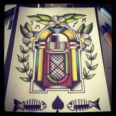 A4 Jukebox tattoo flash print op Etsy, 10,00 €