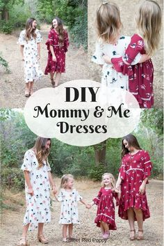 Stricken DIY sewing Mommy and Me Matching Dresses Stylish Fabrics white and burgundy, Mommy And Me Dresses, Leftover Fabric, Sweet Dress, Love Sewing, Fall Sewing, Sewing Projects For Beginners, Simple Projects, Diy Projects, Couture