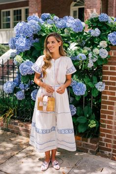 Gal Meets Glam A Cotton Dress For Summer - LoveShackFancy dress, Aquazzura x de Gournay loafers & Mark Cross bag