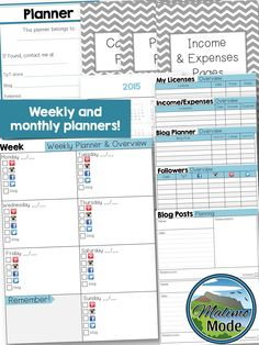 Love how this full planner helps me plan my TpT work! Note that you can tick off the boxes AND add write comments before printing, or print the sheets as they are! The calendar pages run until December 2016. This is a growing bundle, so the planner will be expanded as time passes - grab it and get a great deal!