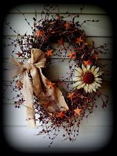 "fall star wreath | Oval Wreath with Burgundy Pip Berries, Burlap Bow-Flower 30""-Stars ..."