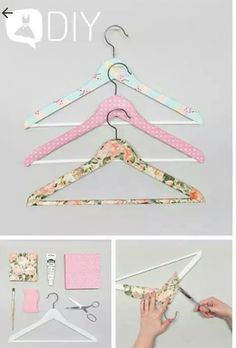Pimp your clothes hanger Scrap Fabric Projects, Diy Craft Projects, Fabric Crafts, Sewing Crafts, Diy Tumblr, Baby Clothes Hangers, Diy Clothes, Crafts To Make, Diy Crafts