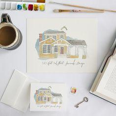 adorable custom house watercolors