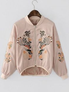 2b9b55749bf2 Hot Sale Asymmetric Embroidered Bomber Pink Jacket Casual Loose Autumn  Simple Cute O Neck Long Sleeve Short Jacket