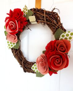Sweetheart Felt and Grapevine Wreath - The Original Felt Yarn Wreath. $45.00, via Etsy.