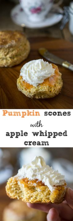 British-style pumpkin scones with apple whipped cream. These scones are round (not triangular), well risen, not drizzled with a sweet glaze. They have very little sugar in them because the sweetness comes from the jam you spread on them. This is British-style.