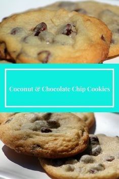 Coconut and Chocolate Chip Cookies Recipe Easy Cookie Recipes, Cookie Desserts, Easy Desserts, Brunch Recipes, Snack Recipes, Dessert Recipes, Party Recipes, Summer Recipes, Coconut Chocolate Chip Cookies
