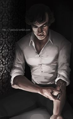 Sherlock and his cocaine addiction. This is so cool. I love the concept with his glowing veins, and the lighting.