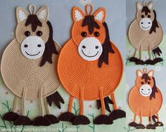 046 Horse decor, potholder or small pillow - Amigurumi Zabelina Ravelry Crochet pattern by Kate Sharapova Potholder Patterns, Crochet Potholders, Knitting Patterns, Crochet Patterns, Crochet Horse, Crochet Animals, Crochet Hot Pads, Crochet Baby, Diy Crochet