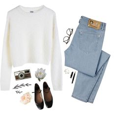 A fashion look from February 2015 featuring MTWTFSS Weekday sweaters, D&G jeans and Rochas flats. Browse and shop related looks.