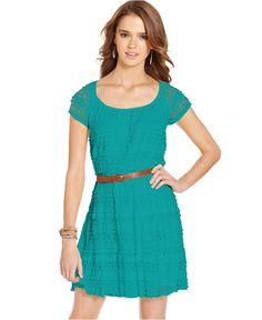 Trixxi Juniors Dress, Short Sleeve Belted Lace - Juniors Dresses - Macy's