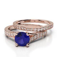 Gold / platinum round cut tanzanite and diamond bridal set ring Bridal Ring Sets, Gold Platinum, Sapphire, Wedding Rings, Rose Gold, Engagement Rings, Diamond, Jewelry, Enagement Rings