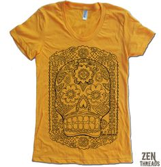 Womens Day of the Dead Sugar Skull shirt - More colors, $18.00 #handmade #shirt #skull