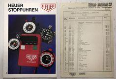 Heuer Katalog 1974 Jahre , Stoppuhren mit Preisliste,Swiss Made Sport, Vintage Watches, Ebay, Counting Scales, Price List, Catalog, Deporte, Sports, Vintage Clocks