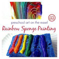 Rainbow Sponge Painting on the Easel