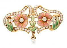 Masriera y Carreras, broche-colgante floral en oro y pedrería