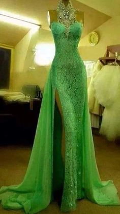 High Quality Halter Prom Dresses,Beaded Lace Formal Dresses,Side Split Sexy Evening Dresses on Luulla Sexy Evening Dress, Evening Gowns, Evening Party, Long Evening Dresses, Green Wedding Dresses, Formal Dresses, Formal Prom, Lime Green Prom Dresses, Casual Dresses