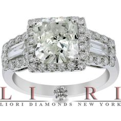 3.85 Carat G-SI3 Cushion Cut Vintage Style Natural Diamond Engagement Ring 14k - Side-stone Engagement Rings - Engagement - Lioridiamonds.com