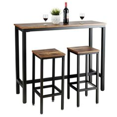Small Pub Table, Bar Table Sets, Solid Wood Dining Table, Dining Table In Kitchen, Kitchen Decor, Bar Tables, Dining Area, Kitchen Ideas, Dining Room