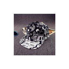 Unisex Scrawl Graffiti Hat Hip Hop Kpop Adjustable Snapback Baseball... ($7.18) ❤ liked on Polyvore featuring accessories, hats, black, snapback hats, baseball cap hats, white cap, adjustable baseball caps and adjustable hats