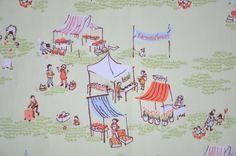 Farmers market ; vintage fabric Etsy listing at https://www.etsy.com/listing/229746820/farmers-market-sleeve-heather-ross-munki