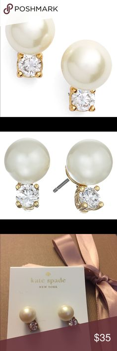 Pearl diamond Classical stud earrings Brand new Kate Spade Pearl and diamond earrings No trade no lowball Take reasonable offer Thank you 😊 kate spade Jewelry Earrings
