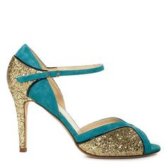 Corinne  teal suede, gold glitter, black patent with a glitter covered heel  4'' heel  made in italy  item comes pre-boxed  style # s9423123t