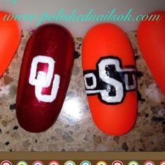 """Roll call....Comment below to tell us who is your team? #OSU #OU #OklahomaStateUniversity #Oklahoma #Sooners #Cowboys Come get Polished with us with your favorite team on your nails! #getpolished #bePolished #staypolished #polishednailsok #getPamperedAtPolished #gameday #collegeFootball"" Photo taken by @polishednailsok on Instagram, pinned via the InstaPin iOS App! http://www.instapinapp.com (09/02/2015)"