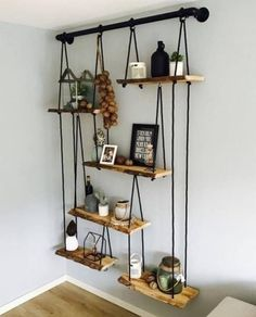 30 Cool DIY Furniture Hacks That Are So Creative - Hanging Shelves On a Galvanized Pipe. Hardest part was leveling each shelf and align them - Diy Furniture Hacks, Furniture Projects, Cool Furniture, Furniture Legs, Barbie Furniture, Garden Furniture, Furniture Design, Kitchen Furniture, Shelf Furniture
