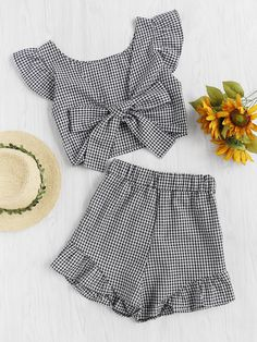 #AdoreWe #ROMWE ROMWE Gingham Frill Trim Bow Tie Back Top With Shorts - AdoreWe.com