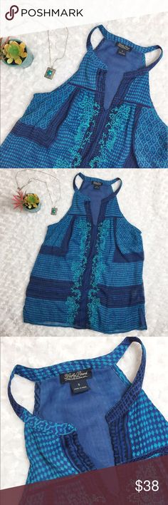 """Lucky Brand crochet tank Don't pass this beautiful shirt up! Sheer Polyester shell lays on a darker blue layer giving the tank wonderful dimension. The loose fit and added crochet detail down the front only adds to the wow factor! In perfect condition and ready for a night on the town. Length 26"""" chest 17.5"""" bottom hem 22"""" Lucky Brand Tops Tank Tops"""