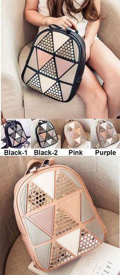 Unique Girl's PU Splicing Leisure Rivet School Backpack Triangles Sequins Backpack is so cute ! #unique #backpack #Bag #rivet #school #college #triangle