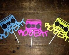 Name Cake topper- Custom-  Birthday cake topper- 80s cake topper- 80s party- boombox cake topper- Graffiti cake topper- boombox decoration- nametags?