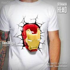 Kaos IRON MAN, Kaos 3D Iron Man Head, Kaos Superhero, Kaos The Avengers, http://instagram.com/kaos3dbagus, WA : 08222 128 3456, LINE : kaos3dbagus