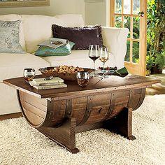 Handmade Vintage Oak Whiskey Barrel Coffee Table - Wine Enthusiast